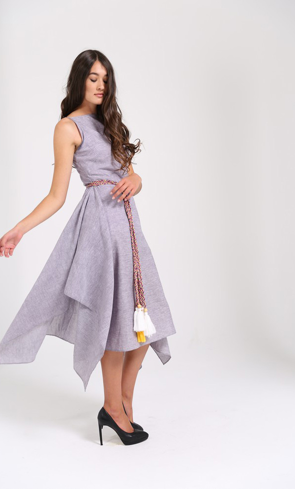 Dramatic Cascading Dress With Colourful Plaited Wrap Belt-3