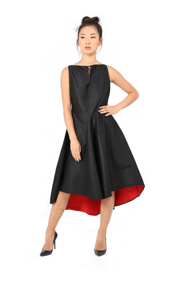 Flamenco Style Summer Dress With Straight Slit Neckline-1