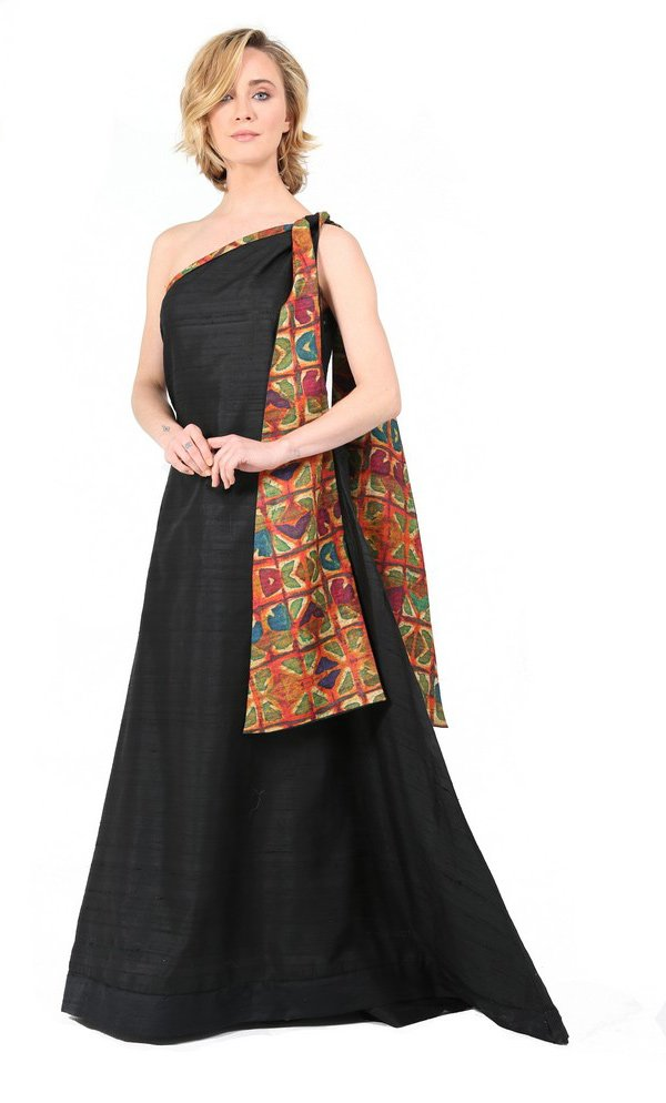 Formal Black Evening Gown With Tribal Scarf-1