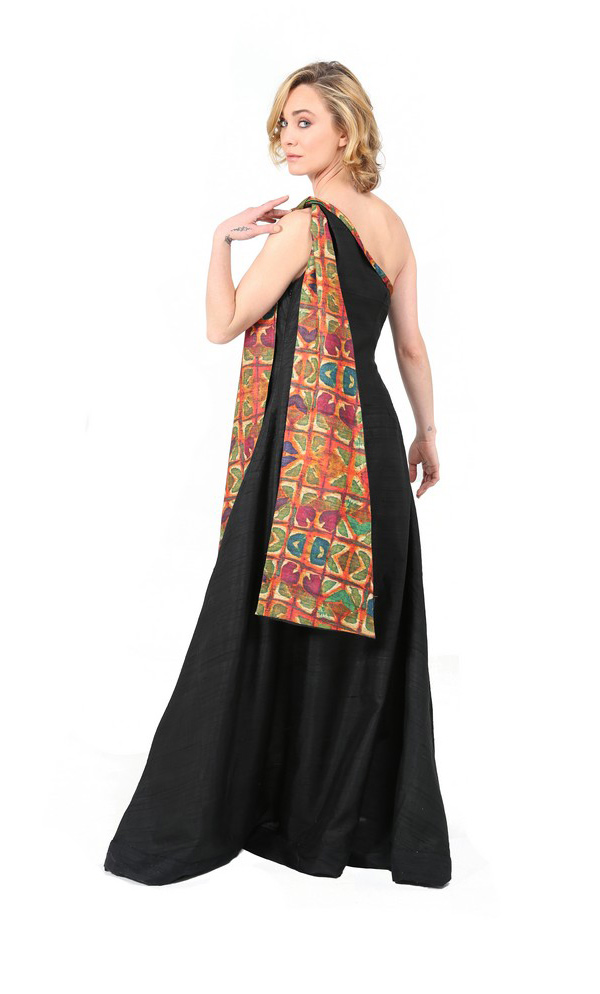 Formal Black Evening Gown With Tribal Scarf-2