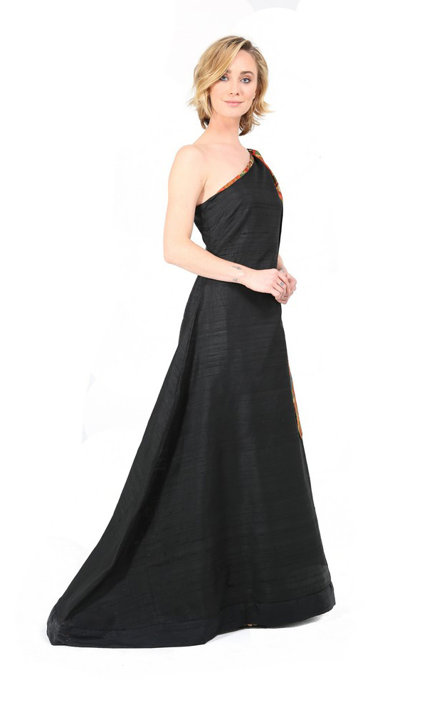Formal Black Evening Gown With Tribal Scarf-3