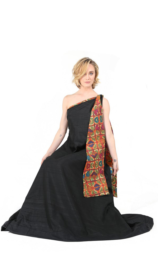 Formal Black Evening Gown With Tribal Scarf-4